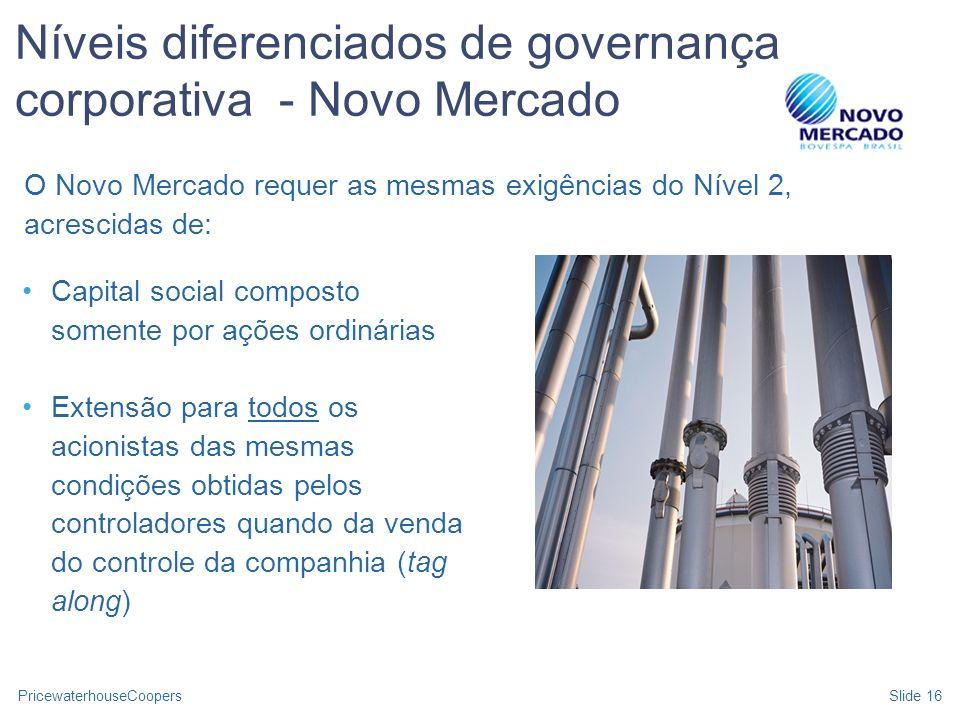 Níveis diferenciados de governança corporativa - Novo Mercado