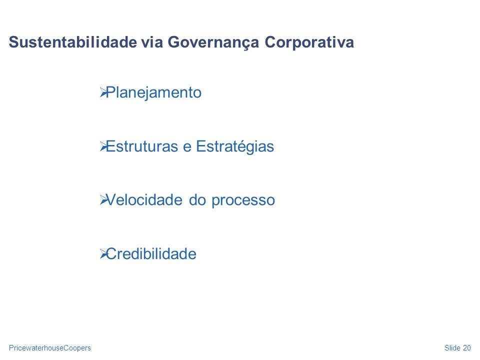 Sustentabilidade via Governança Corporativa