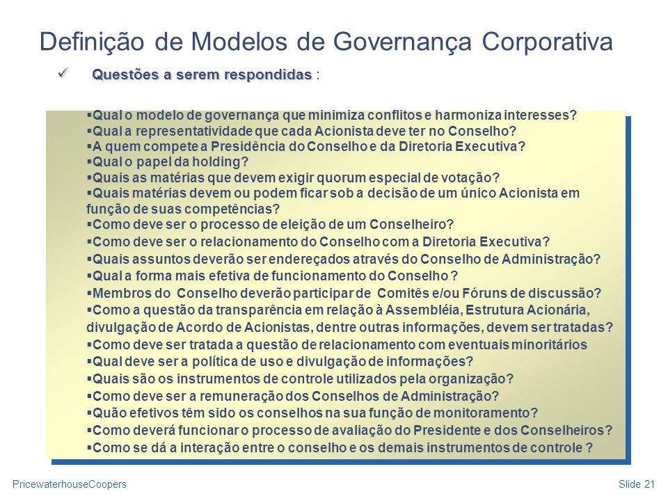 Definição de Modelos de Governança Corporativa