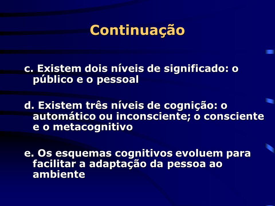 Continuação c. Existem dois níveis de significado: o público e o pessoal.