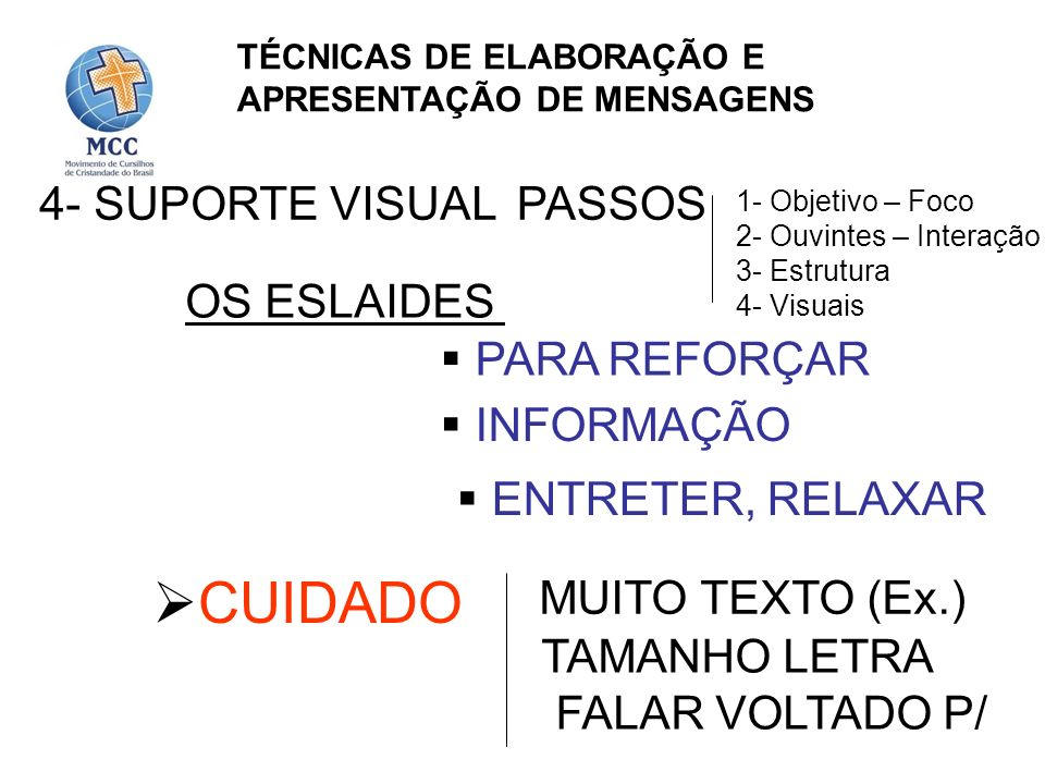 CUIDADO 4- SUPORTE VISUAL PASSOS OS ESLAIDES PARA REFORÇAR INFORMAÇÃO