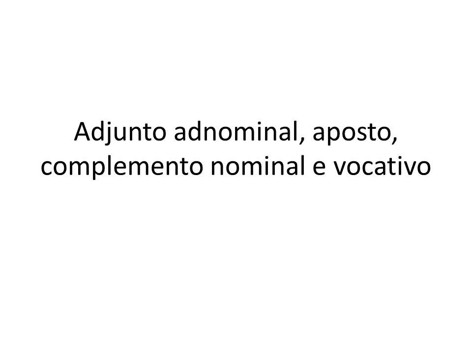 Adjunto adnominal, aposto, complemento nominal e vocativo