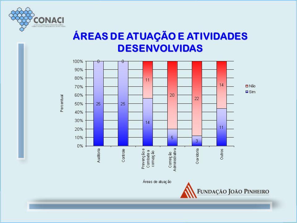 ÁREAS DE ATUAÇÃO E ATIVIDADES DESENVOLVIDAS