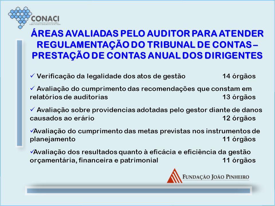 ÁREAS AVALIADAS PELO AUDITOR PARA ATENDER REGULAMENTAÇÃO DO TRIBUNAL DE CONTAS – PRESTAÇÃO DE CONTAS ANUAL DOS DIRIGENTES