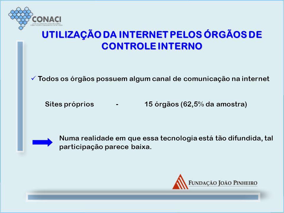 UTILIZAÇÃO DA INTERNET PELOS ÓRGÃOS DE CONTROLE INTERNO