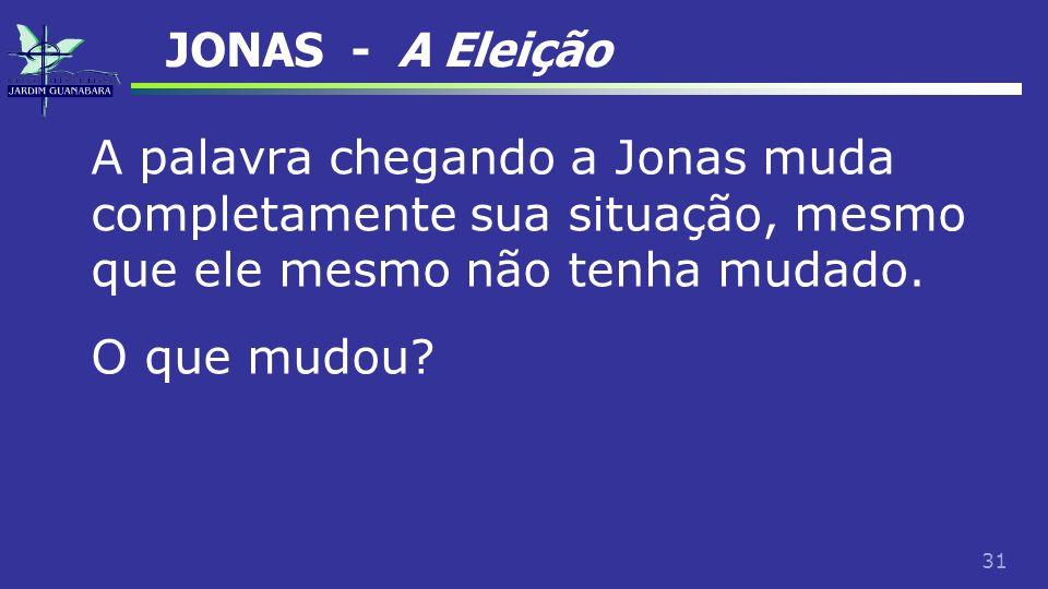 JONAS - A Eleição A palavra chegando a Jonas muda completamente sua situação, mesmo que ele mesmo não tenha mudado.