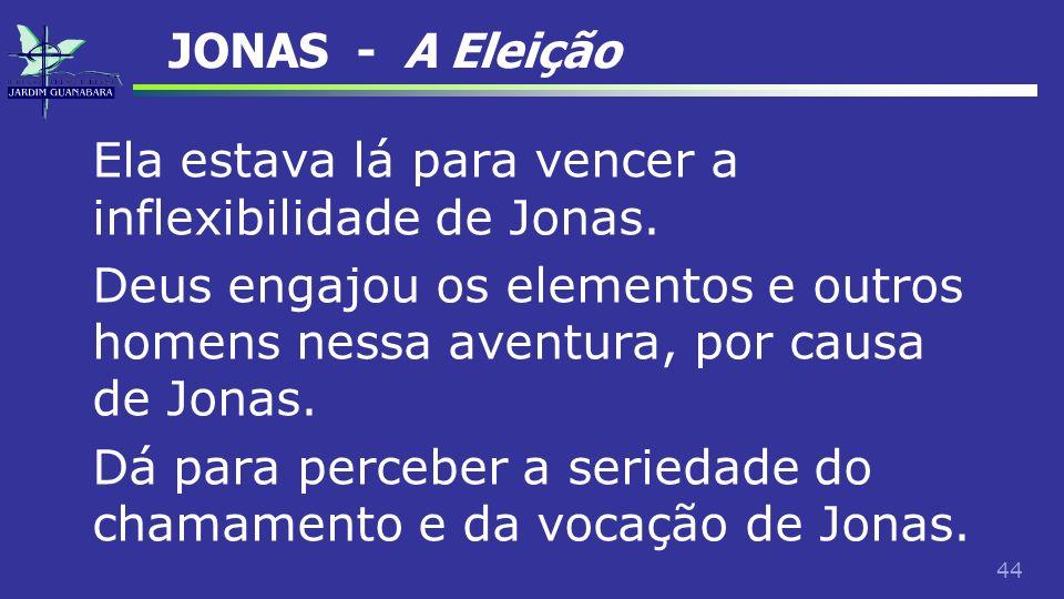 JONAS - A Eleição Ela estava lá para vencer a inflexibilidade de Jonas.