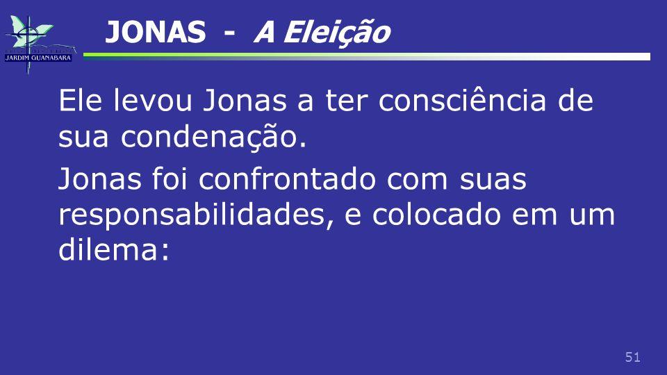 JONAS - A Eleição Ele levou Jonas a ter consciência de sua condenação.