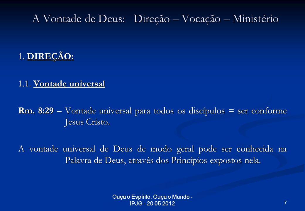 A Vontade de Deus: Direção – Vocação – Ministério