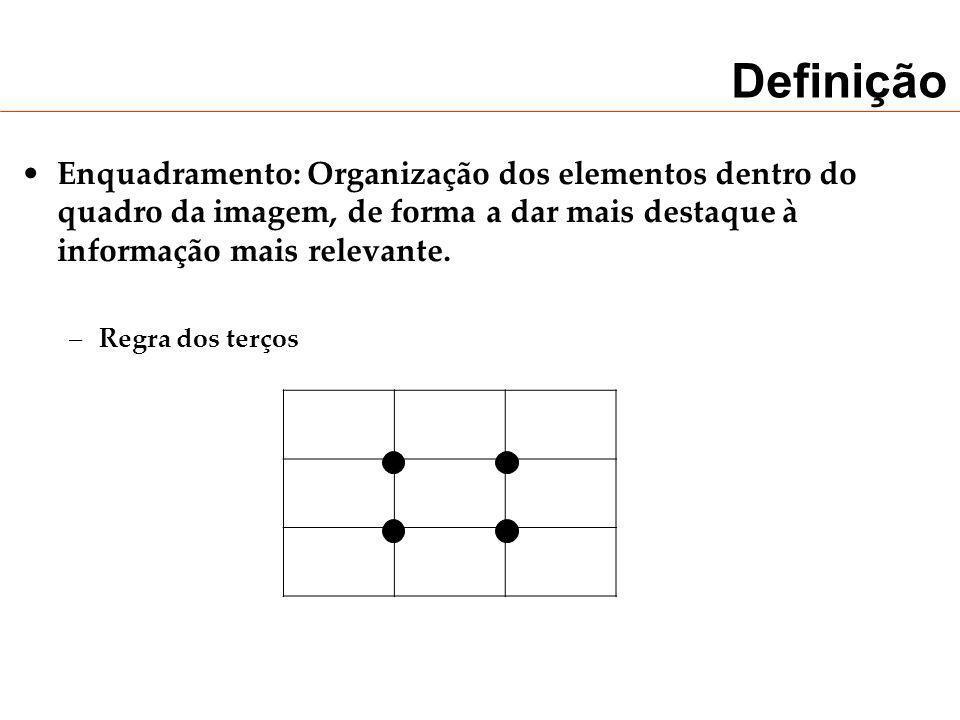 DefiniçãoEnquadramento: Organização dos elementos dentro do quadro da imagem, de forma a dar mais destaque à informação mais relevante.