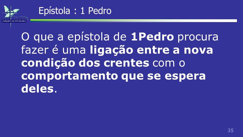Epístola : 1 Pedro O que a epístola de 1Pedro procura fazer é uma ligação entre a nova condição dos crentes com o comportamento que se espera deles.