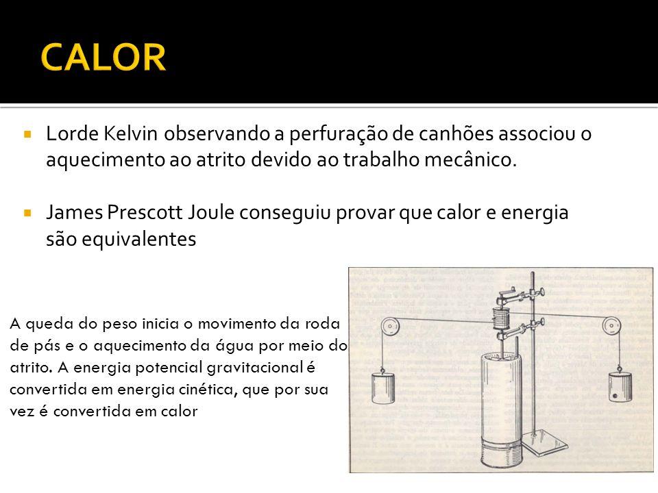 CALORLorde Kelvin observando a perfuração de canhões associou o aquecimento ao atrito devido ao trabalho mecânico.