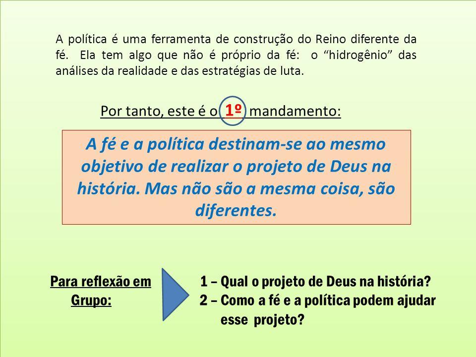 A política é uma ferramenta de construção do Reino diferente da fé