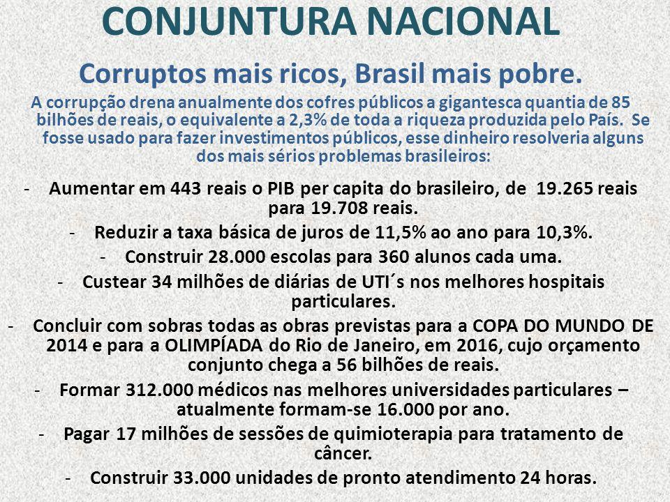 CONJUNTURA NACIONAL Corruptos mais ricos, Brasil mais pobre.
