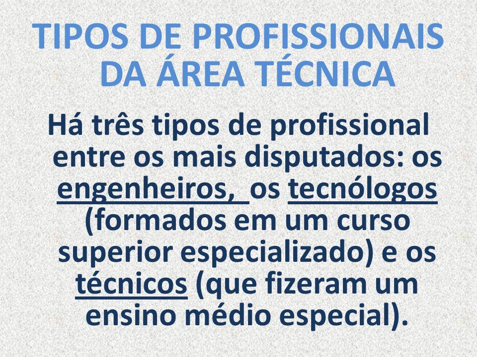 TIPOS DE PROFISSIONAIS DA ÁREA TÉCNICA