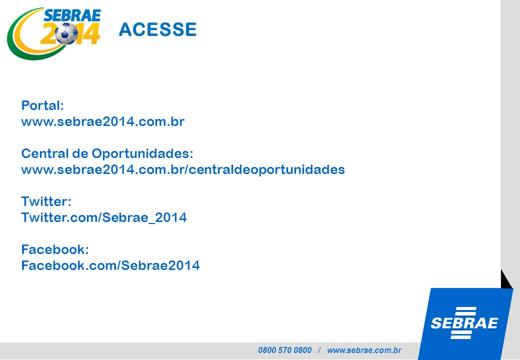 ACESSE Portal: www.sebrae2014.com.br Central de Oportunidades: