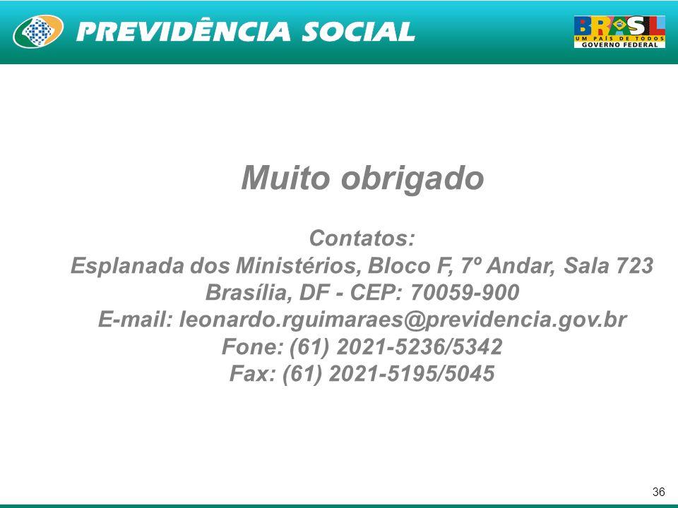 Muito obrigado Contatos: Esplanada dos Ministérios, Bloco F, 7º Andar, Sala 723 Brasília, DF - CEP: 70059-900 E-mail: leonardo.rguimaraes@previdencia.gov.br Fone: (61) 2021-5236/5342 Fax: (61) 2021-5195/5045