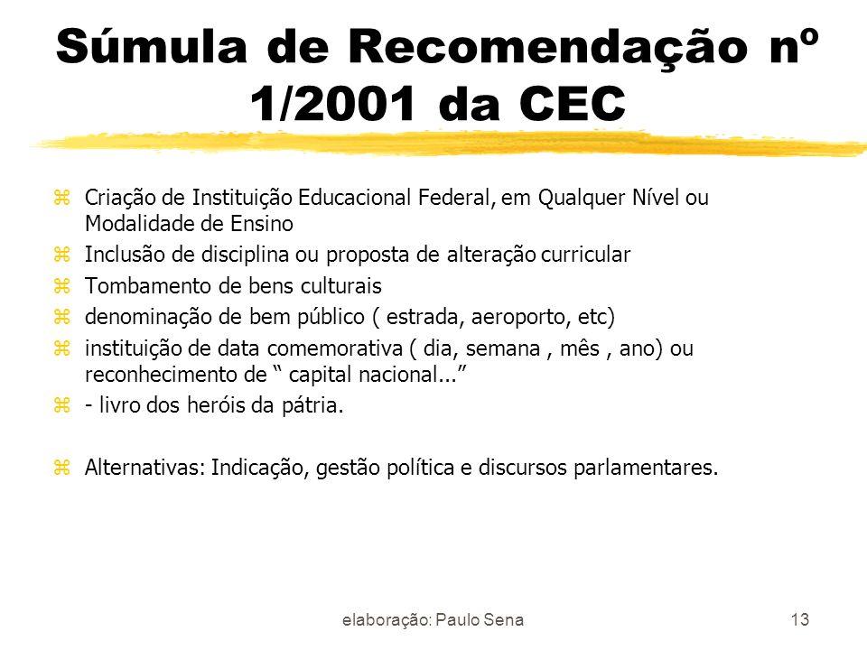 Súmula de Recomendação nº 1/2001 da CEC