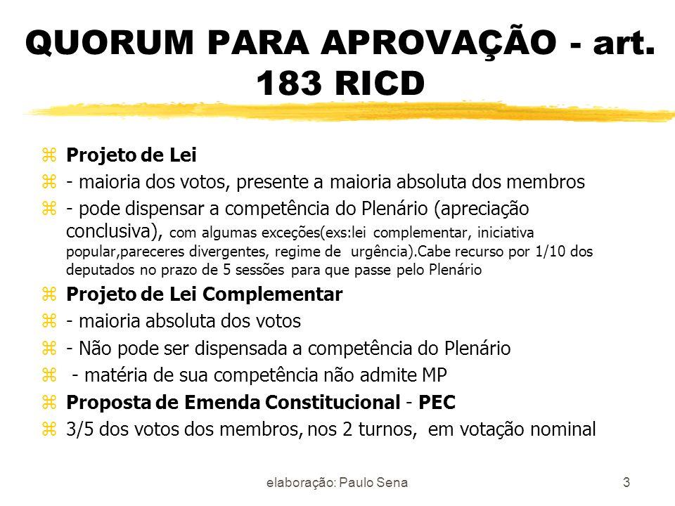 QUORUM PARA APROVAÇÃO - art. 183 RICD