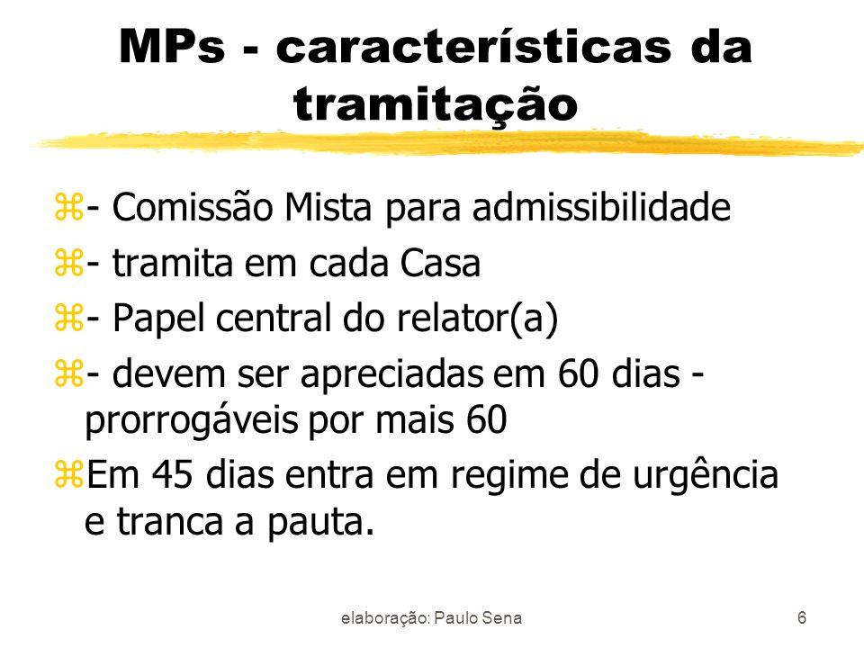 MPs - características da tramitação