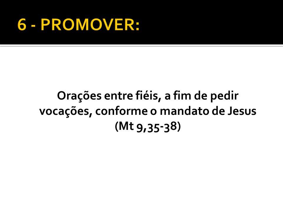 6 - PROMOVER: Orações entre fiéis, a fim de pedir vocações, conforme o mandato de Jesus (Mt 9,35-38)