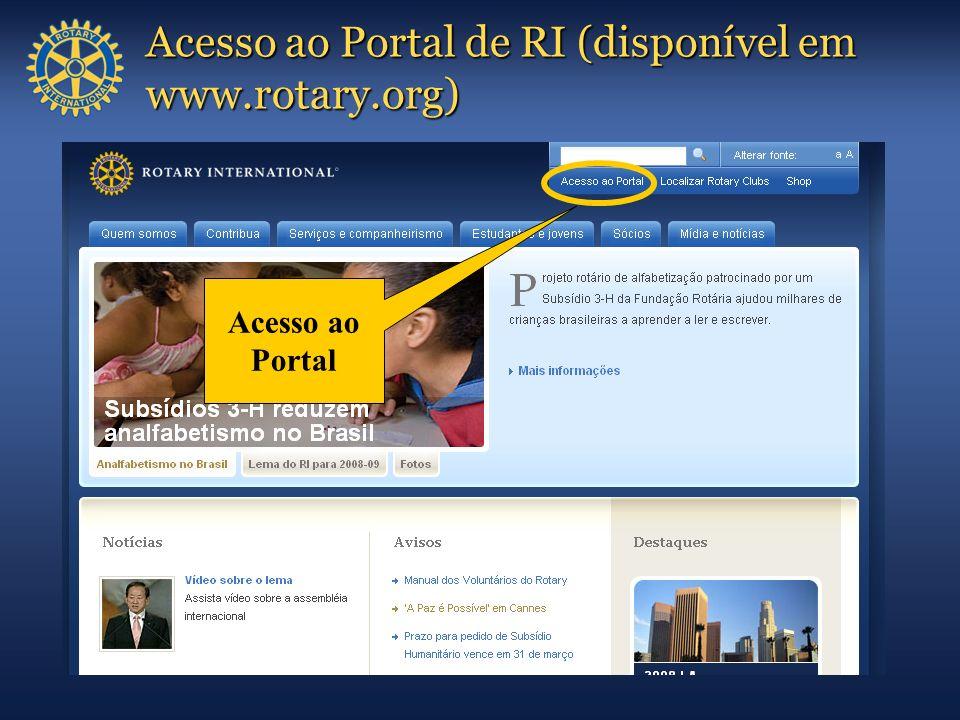 Acesso ao Portal de RI (disponível em www.rotary.org)