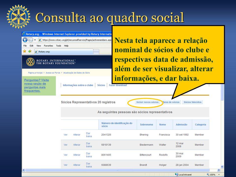 Consulta ao quadro social