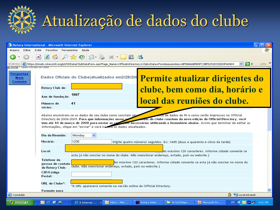 Atualização de dados do clube