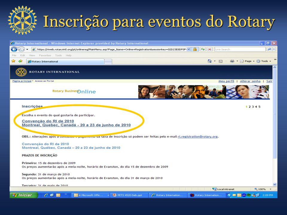 Inscrição para eventos do Rotary