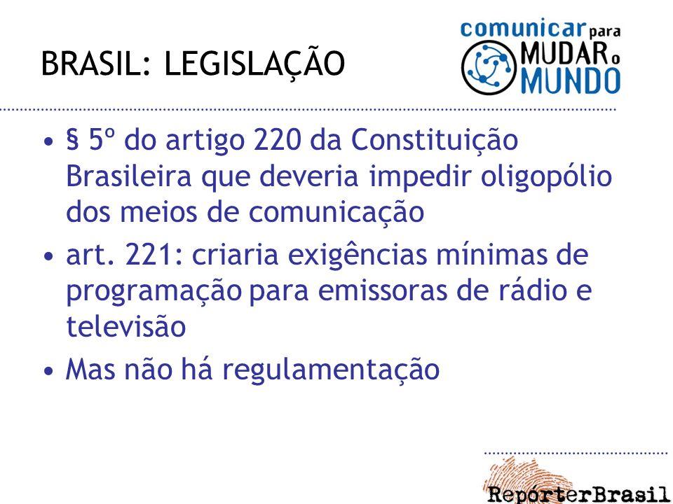 BRASIL: LEGISLAÇÃO § 5º do artigo 220 da Constituição Brasileira que deveria impedir oligopólio dos meios de comunicação.