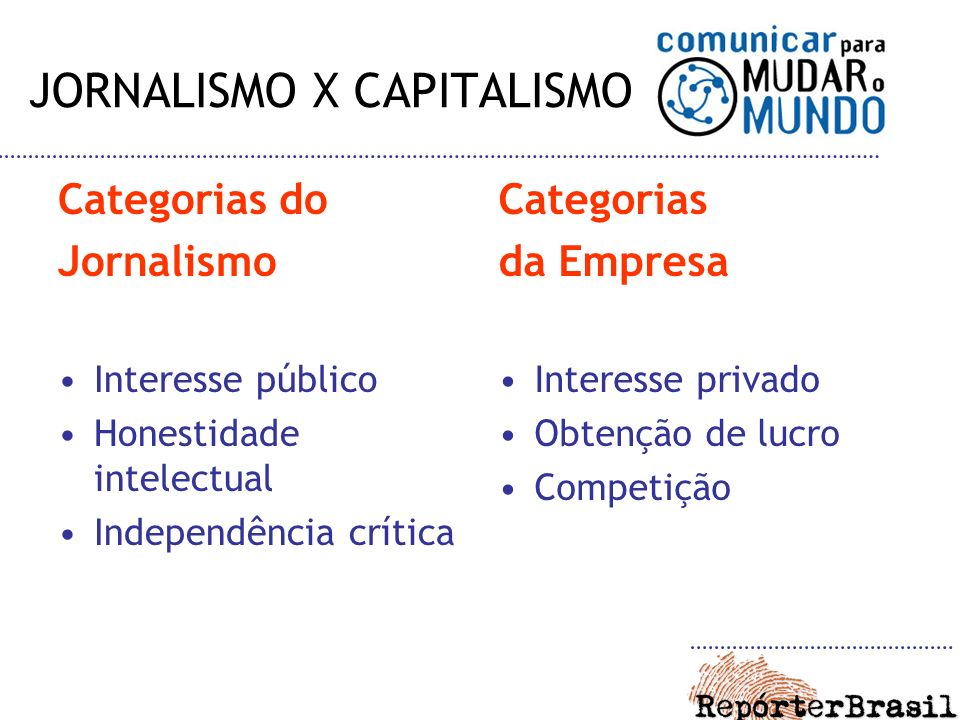 JORNALISMO X CAPITALISMO