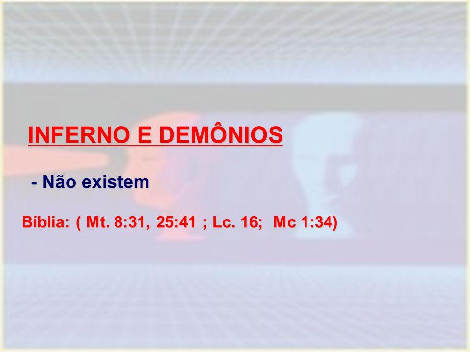 INFERNO E DEMÔNIOS - Não existem