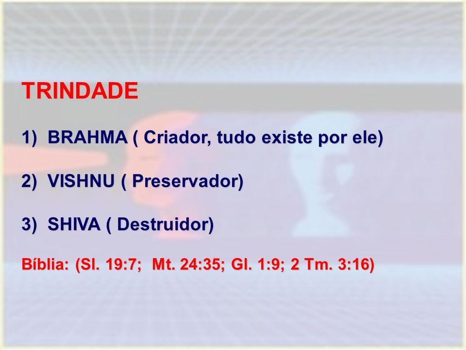 TRINDADE BRAHMA ( Criador, tudo existe por ele) VISHNU ( Preservador)