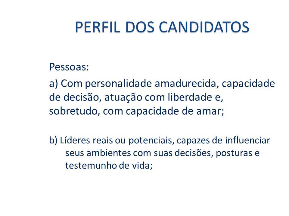 PERFIL DOS CANDIDATOS Pessoas:
