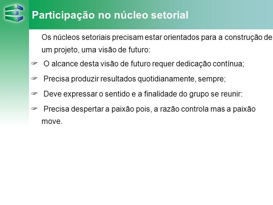 Participação no núcleo setorial