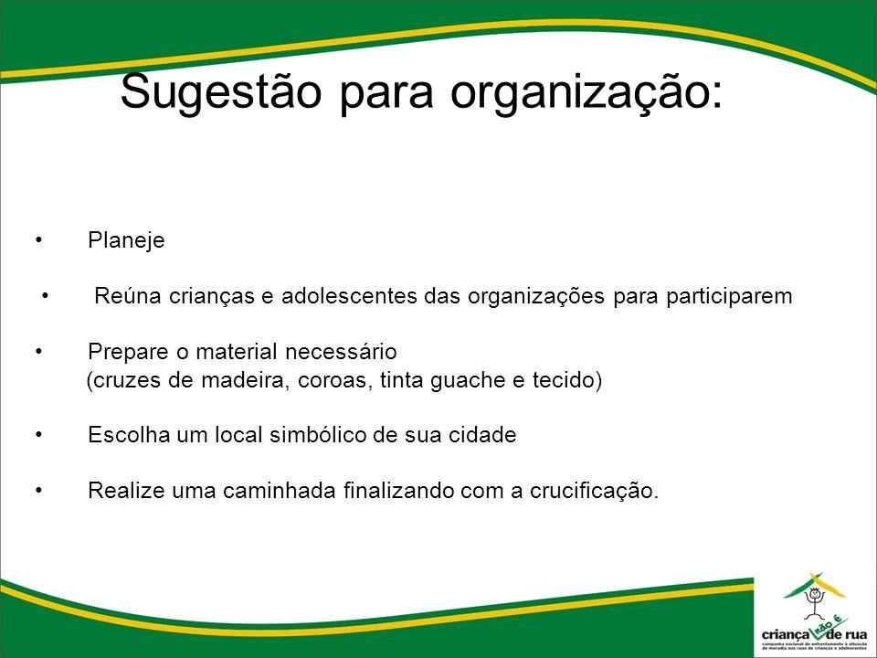 Sugestão para organização: