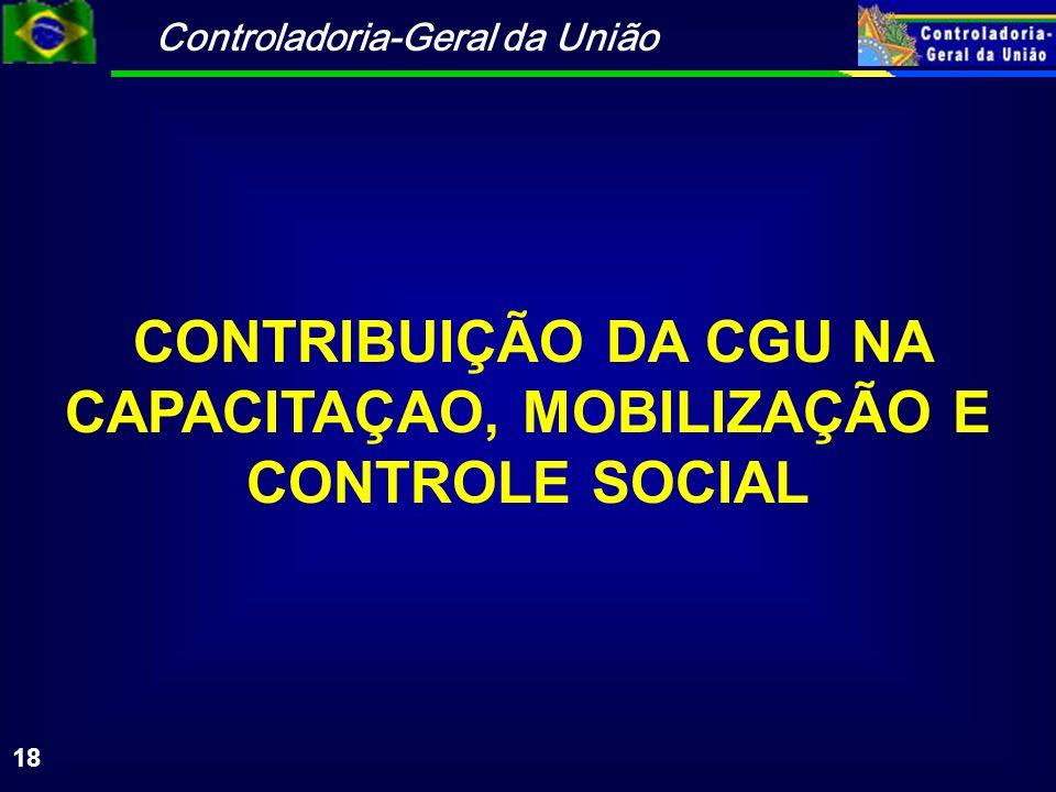 CONTRIBUIÇÃO DA CGU NA CAPACITAÇAO, MOBILIZAÇÃO E CONTROLE SOCIAL