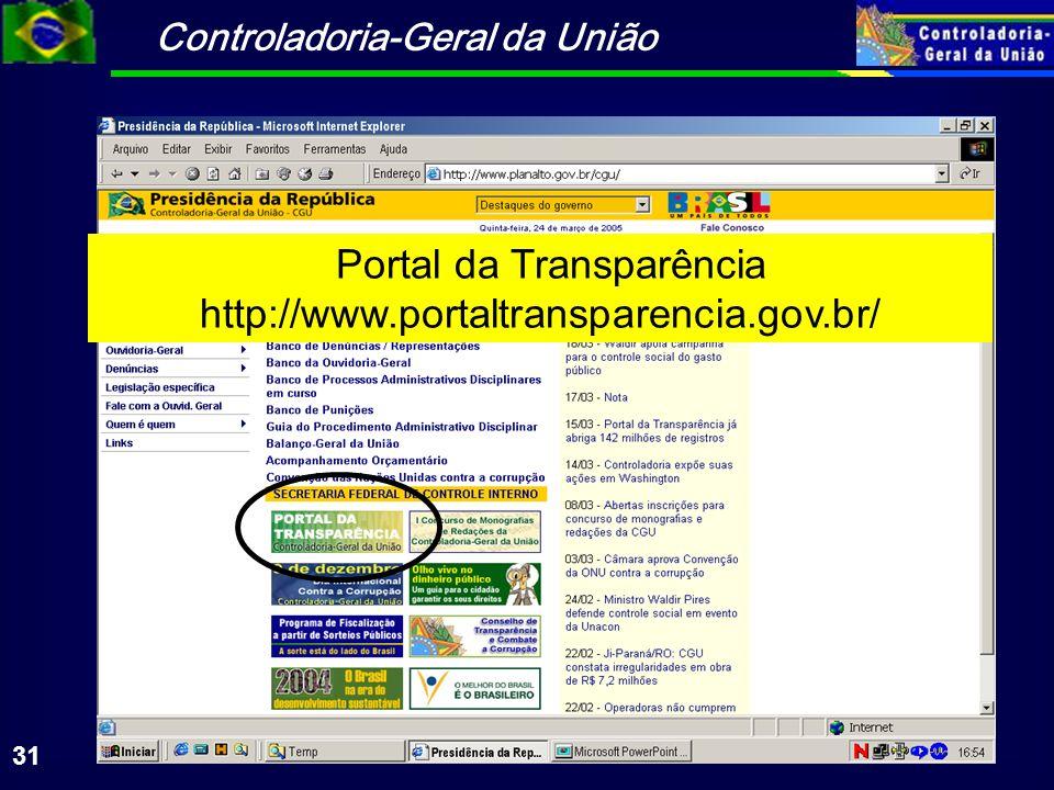 Portal da Transparência http://www.portaltransparencia.gov.br/