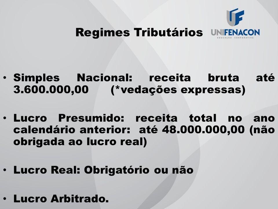 Regimes Tributários Simples Nacional: receita bruta até 3.600.000,00 (*vedações expressas)