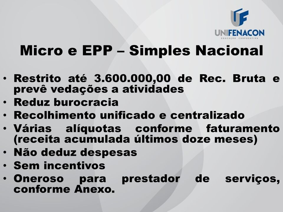Micro e EPP – Simples Nacional