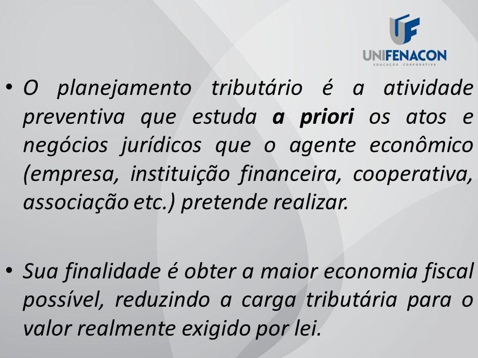 O planejamento tributário é a atividade preventiva que estuda a priori os atos e negócios jurídicos que o agente econômico (empresa, instituição financeira, cooperativa, associação etc.) pretende realizar.
