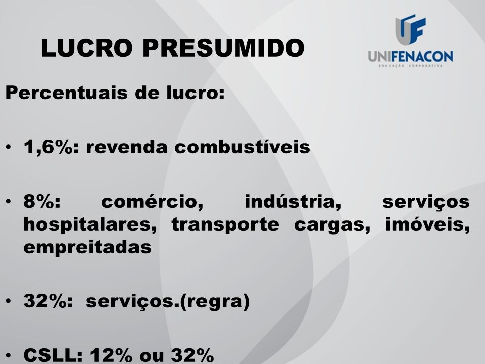 LUCRO PRESUMIDO Percentuais de lucro: 1,6%: revenda combustíveis