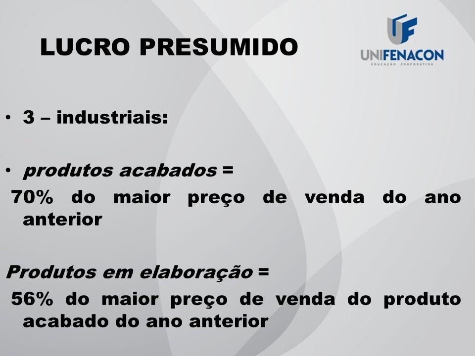 LUCRO PRESUMIDO 3 – industriais: produtos acabados =
