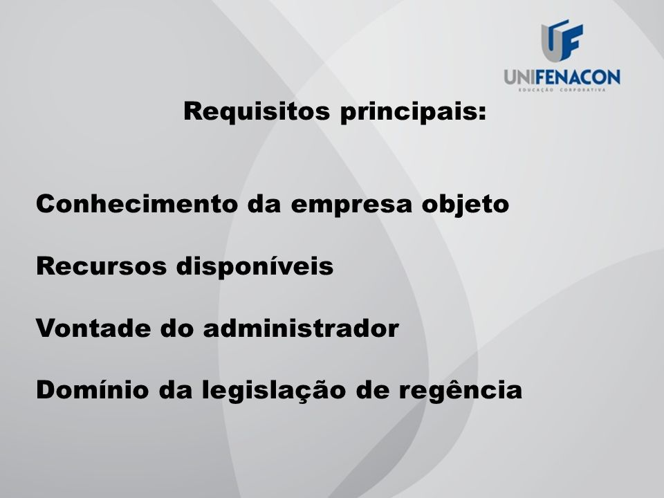 Requisitos principais: