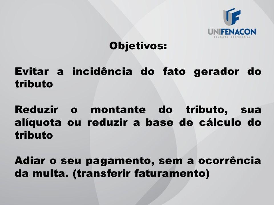 Objetivos: Evitar a incidência do fato gerador do tributo. Reduzir o montante do tributo, sua alíquota ou reduzir a base de cálculo do tributo.