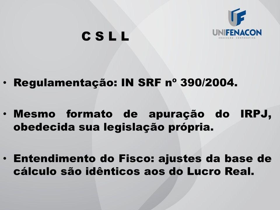 C S L L Regulamentação: IN SRF nº 390/2004.