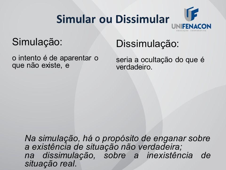 Simular ou Dissimular Simulação: Dissimulação: