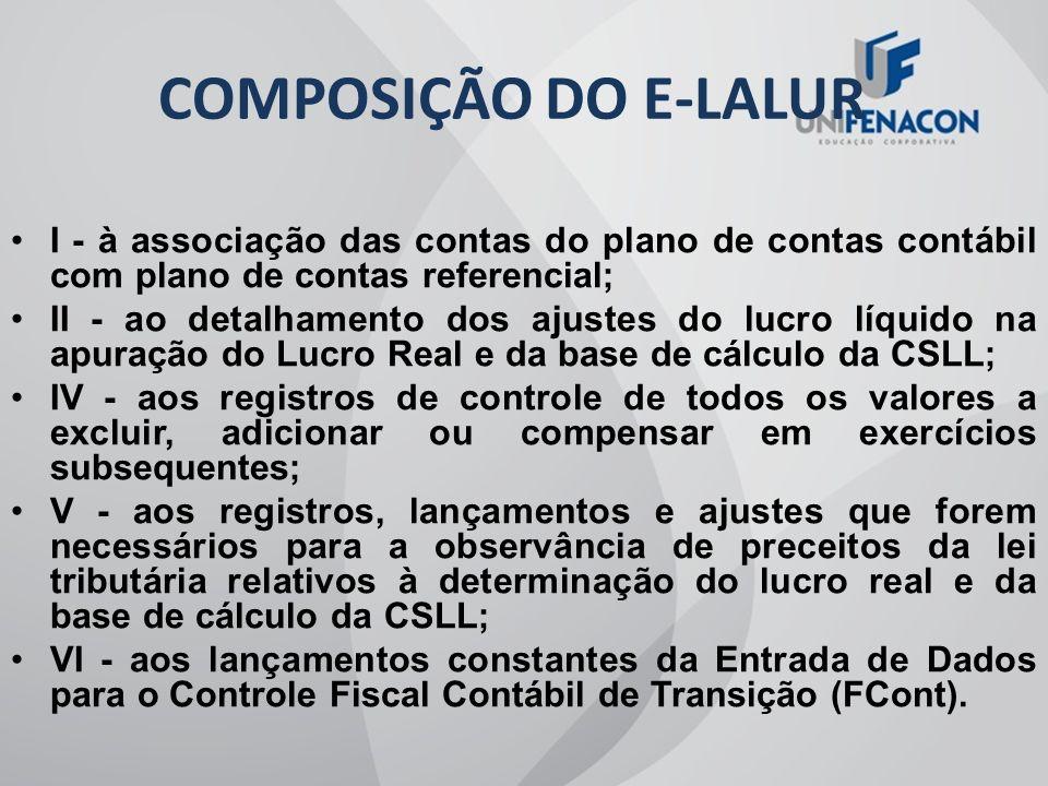 COMPOSIÇÃO DO E-LALUR I - à associação das contas do plano de contas contábil com plano de contas referencial;