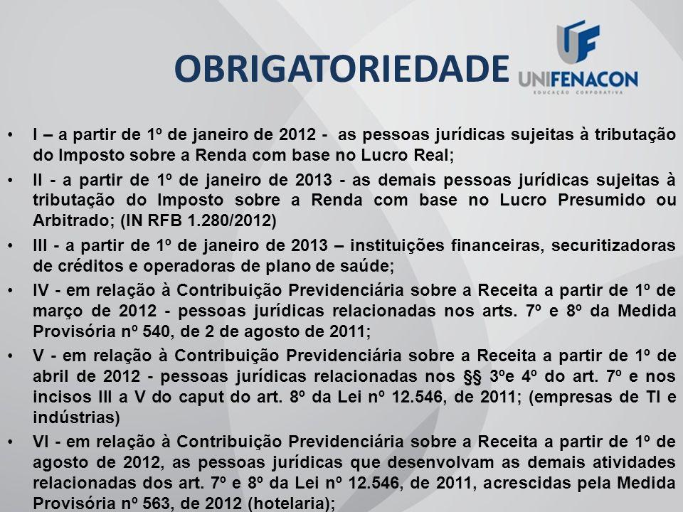 OBRIGATORIEDADE I – a partir de 1º de janeiro de 2012 - as pessoas jurídicas sujeitas à tributação do Imposto sobre a Renda com base no Lucro Real;