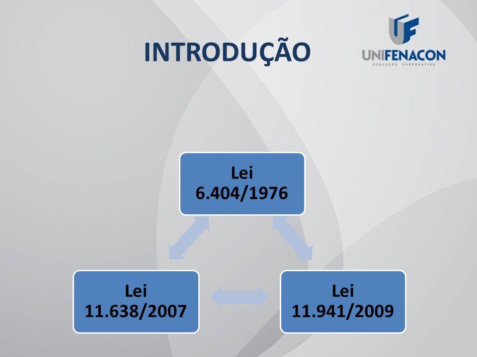 INTRODUÇÃO Lei 6.404/1976 Lei 11.941/2009 Lei 11.638/2007
